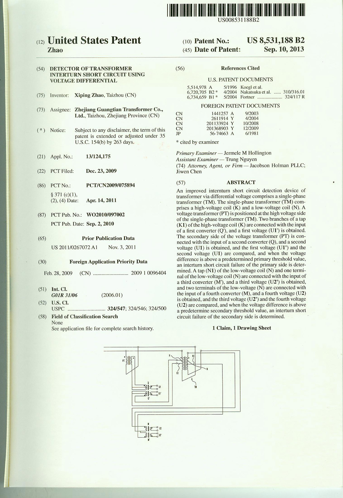 2September 10, 2013 (International Patent: United States) improved electric differential detection d